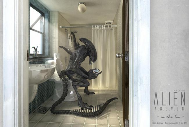 Alien On Toilet
